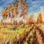 Autumn road. 89 x 67cm. Oil on canvas, 2014 Moscow.Painting is available in Moscow.