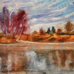 Late Autumn. Lake. 49 x 67cm. Oil on canvas, 2014 Moscow.Painting is available in Moscow.