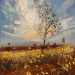 The autumn sun. 30 x 21.5 cm. Oil on canvas, 2014 Moscow. Painting is available in Moscow.