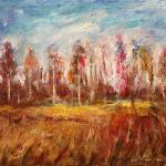Birch in the field. 49 x 67cm. Oil on canvas, 2014 Moscow.Painting is available in Moscow.