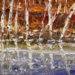 Birch and ice. 16 x 25 cm. Oil on canvas, 2014 Moscow.Painting is available in Moscow.