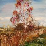 Birch in the field. 49 x 37cm. Oil on canvas, 2014 Moscow.  SOLD. Author can repeat painting.