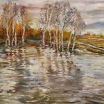 Birch trees in the water. 96 x 69cm. Oil on canvas. Moscow 2014.Painting is available in Moscow.