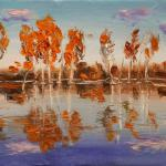 From the series - Birches in water. 29.5 x 20cm. Oil on canvas, 2014 Moscow. SOLD. Author can repeat painting.