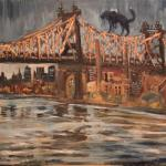 11 Blue dog and Queens Bridge.Oil on canvas. 2013 New York. SOLD. Author can repeat painting.
