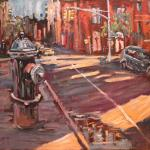 Blue dog and the shadow of West Broadway. Oil on canvas. 2013 New York. 36x27in. SOLD. Author can repeat painting.