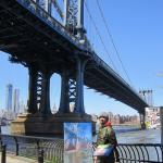 02 Blue dog and Manhattan Bridge.Oil on canvas. 2013 New York. 40x27 in.SOLD. Author can repeat painting.