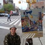 01 Blue dog and China Town. Oil on canvas. 2013 New York. 36x27in. Painting is available in Moscow.