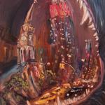 07 Fifth Avenue in the mouth at the Blue Dog. Oil on canvas. 2013 New York. 36x27in. Painting is available in Moscow.