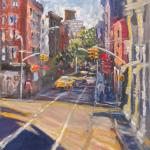 Blue dog and light of West Broadway. Oil on canvas. 2013 New York. 36'x27'. SOLD. Author can repeat painting.