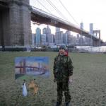 04 Blue dog and Brooklyn Bridge.Oil on canvas. 2013 New York. 40'x27'SOLD. Author can repeat painting.