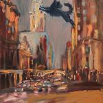 06 Blue dog and east 42 street. Oil on canvas. 2013 New York. 36x27in. Painting is available in Moscow.