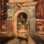 03 Blue dog and night Washington Square.Oil on canvas. 2013 New York. 36x27in. SOLD. Author can repeat painting.
