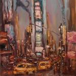 10 Blue dog and Times Square. Oil on canvas. 2013 New York. 36'x27'. Roman Rakhmatulin. SOLD. Author can repeat painting.
