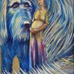 Faith and Blue Dog. 76h114 cm. Oil on canvas. Moscow, 2014. SOLD. Author can repeat painting.