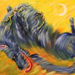 Shurale tickle Blue Dog. Oil on canvas. 67h89 cm. Painting is available in Moscow.