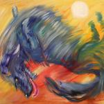 Sun Tickles Blue Dog. Oil on canvas. 67h89 cm. Painting is available in Moscow.