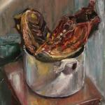 Boots in the pan 49x33cm(19x12 inch). Oil on canvas. 2012.SOLD. Author can repeat painting.