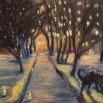 Night, dog and yard. 41х31 cm (16x12 inch). Oil on canvas. 2012. SOLD. Author can repeat painting.