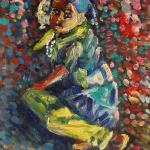 The girl with beads 23x34cm (9x13 inch). Oil on canvas. 2012. SOLD. Author can repeat painting.