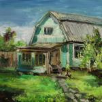 Holiday house near Zvenigorod. 41x32cm(16x12 inch). Oil on canvas.SOLD. Author can repeat painting.