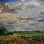 Cornfield. 120x95 cm (47x37 inch). Oil on canvas. 2012. Only finger. Painting available at Ward-Nasse Gallery NYC (www.ward-nassegallery.net)