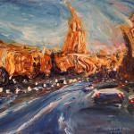 Kutuzov Avenue to the east. 55h75 сm 2014 Moscow. Acrylic on canvas. SOLD. Author can repeat painting.