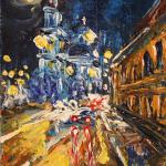 Epiphany Cathedral at night. 20x30cm 2014 Moscow. Acrylic on canvas. SOLD. Author can repeat painting.
