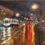 Night tram. 60x80cm 2014 Moscow. Acrylic on canvas . SOLD. Author can repeat painting.