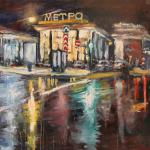 Clean Ponds Metro Station. 78h130sm 2014 Moscow. Oil on canvas. SOLD. Author can repeat painting.