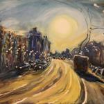 Trolley, going in the north-west. 78h130 cm 2014 Moscow. Oil on canvas.  SOLD. Author can repeat painting.