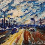 Sky Moscow Ring Road. 20x30cm 2014 Moscow. Acrylic on canvas.Painting is available in Moscow.