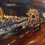 Kutuzov Avenue Night 78h130sm 2014 Moscow. Acrylic on canvas. SOLD. Author can repeat painting. .