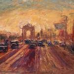 Kutuzov Avenue to the West. 78h130sm 2014 Moscow. Oil on canvas. SOLD. Author can repeat painting.