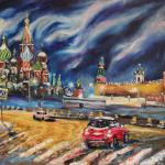 Red Square, January and blue dog. 78h130sm 2014 Moscow. Oil on canvas. SOLD. Author can repeat painting.