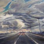 The sky over the road. 114 x 76cm. Oil on canvas. Moscow 2014. Painting is available in Moscow.