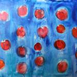 Apples in wool of Blue Dog. West East. Acrylic on canvas, 100 x 150 cm, 2015