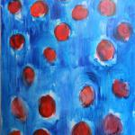 Apples in wool of Blue Dog. North South. Acrylic on canvas, 100 x 150 cm, 2015