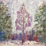 Birch between firs. Acrylic on canvas. Moscow 2014 48h66 cm. Painting is available in Moscow.
