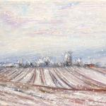 Field under the snow. Oil on canvas. Moscow 2014 48 x 66 cm.  Painting is available in Moscow.