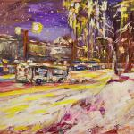 Winter bus. Acrylic on canvas. Moscow 2014 48 х 66 cm.  Painting is available in Moscow.